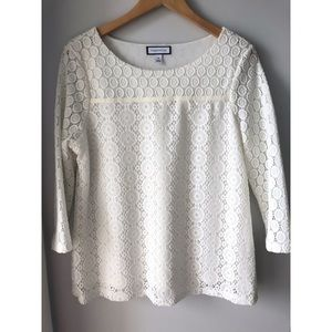 Charter Club Ivory Lace Overlay Blouse
